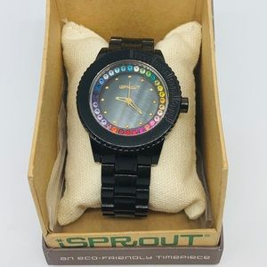 iSprout Watch Black with Multicolored Crystals